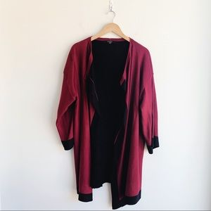 August Silk Red and Black Cascading Cardigan